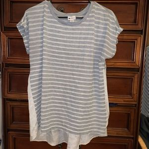 Gray and white striped short sleeve blouse